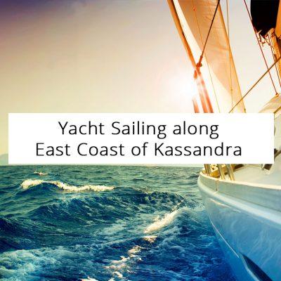 Yacht Sailing along East Coast of Kassandra Peninsula