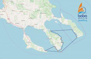 2 days Halkidiki sailing cruise map